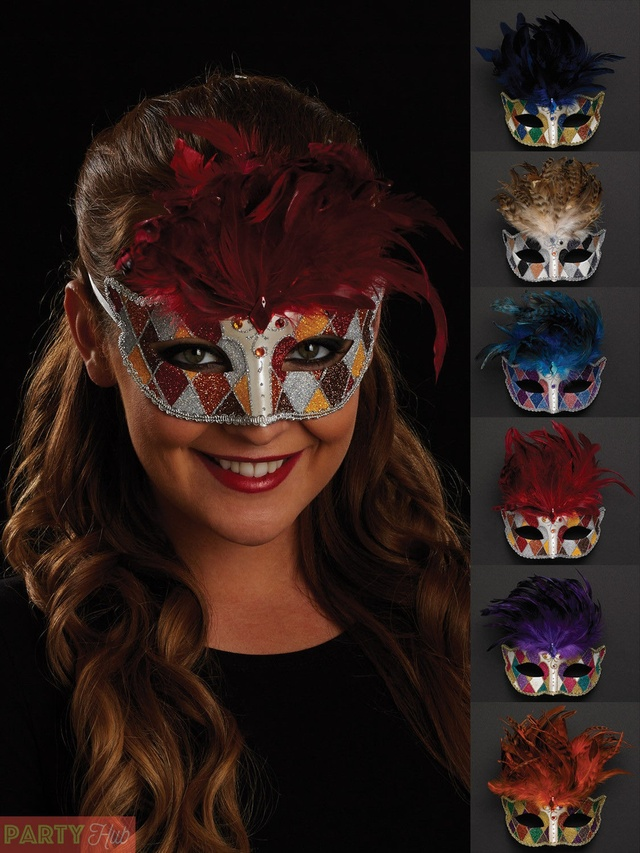 Women Fancy Dress Masquerade Ball Party Adults Feather Face Eye Mask On Stick UK